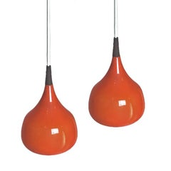 Pair of Swedish Cased Glass Pendants by Uno and Osten Kristiansson for Luxus