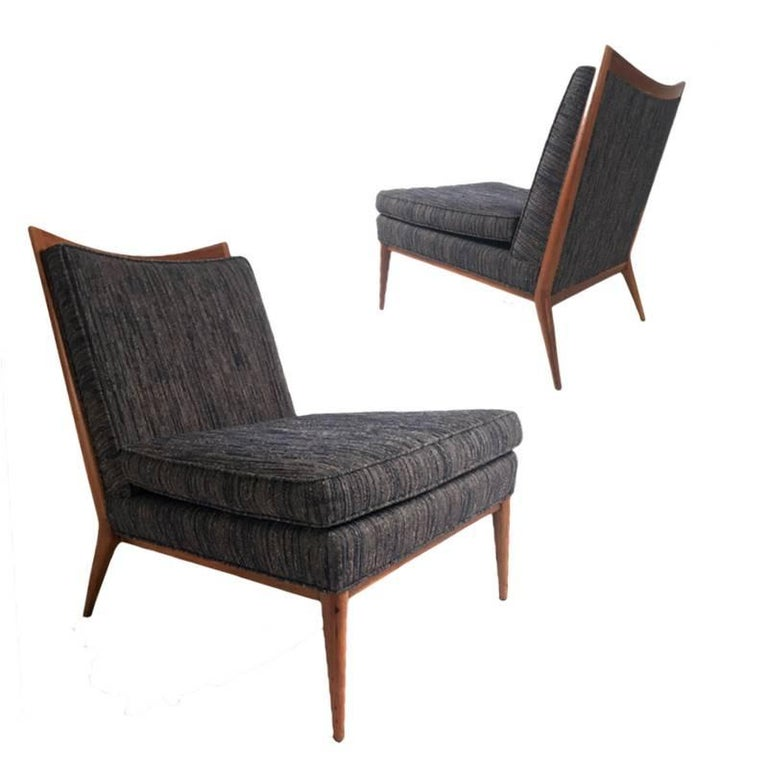 Stunning Pair of Paul McCobb Slipper Lounge Chairs with Walnut Trim