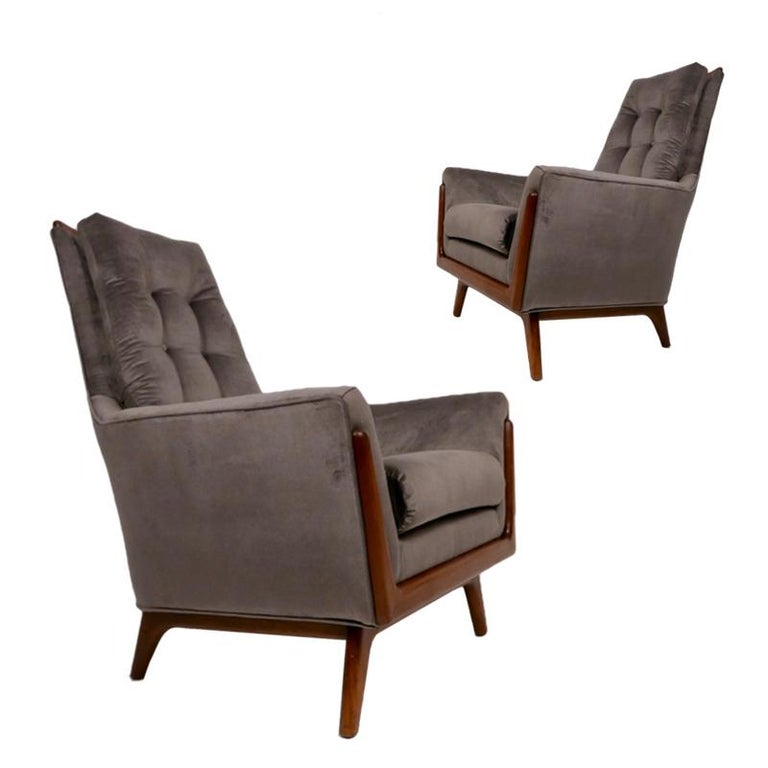 Pair of Adrian Pearsall Tufted Craft Associates Walnut Framed Lounge Chairs