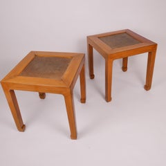 Pair of Midcentury Modern Lacquer and Rattan Low Tables by Edward Wormley