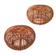 Pair of Wicker or Rattan Ottoman, Stool or End Tables by Franco Albini