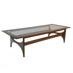 Mid-Century Modern Sculptural Walnut and Glass Rectangular Coffee Table by Lane