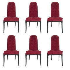 Sleek Set of Six Original High Back Tufted Erwin-Lambeth for Tomlinson Armchairs