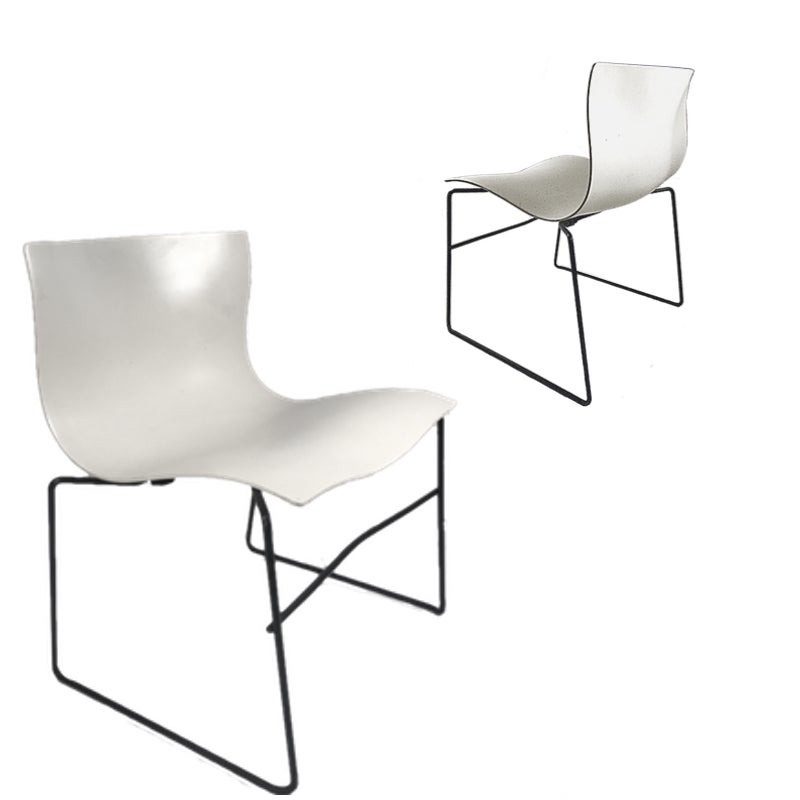 Knoll Massimo Vignelli Handkerchief Stacking Chairs in Black & White 40 Avail