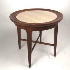 Midcentury Modern Travertine & Walnut Round End Table or Stand Van Koert