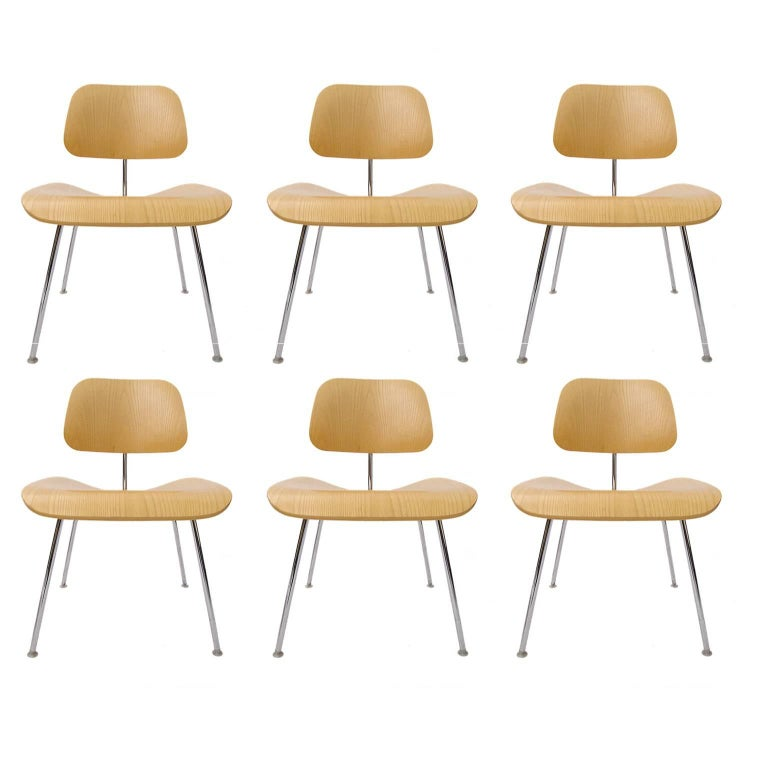 """Set of 6 Charles Eames """"DCM"""" Molded Plywood Chairs for Herman Miller White Ash"""