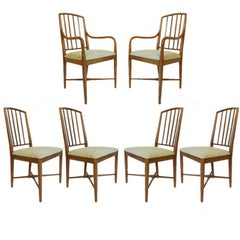 Set of 6 Curved Mid-Century Modern Sleek Edward Wormley for Drexel Dining Chairs