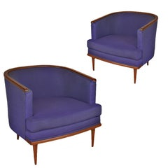 Pair of Milo Baughman Barrel Back Lounge Chairs with Walnut Detail