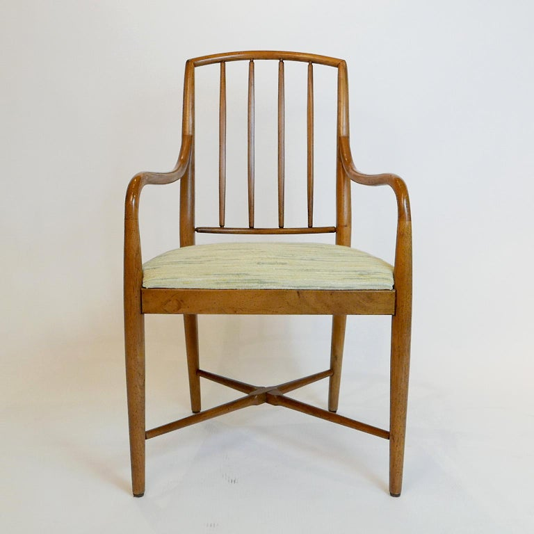Upholstery Pair of Sleek Curved Mid-Century Modern Edward Wormley for Drexel Armchairs For Sale