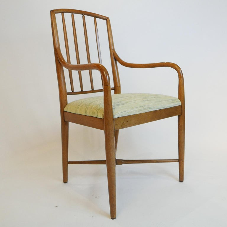 Pair of Sleek Curved Mid-Century Modern Edward Wormley for Drexel Armchairs In Good Condition For Sale In Hudson, NY
