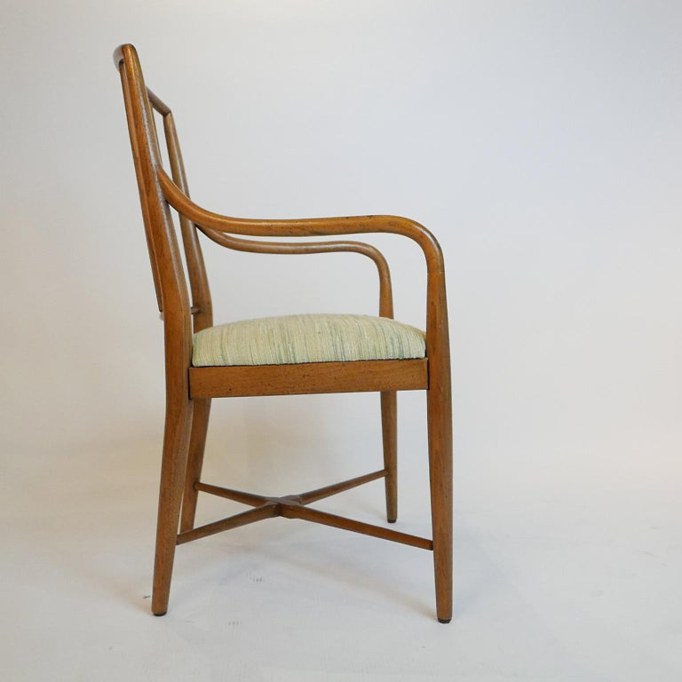 Pair of Sleek Curved Mid-Century Modern Edward Wormley for Drexel Armchairs For Sale 1