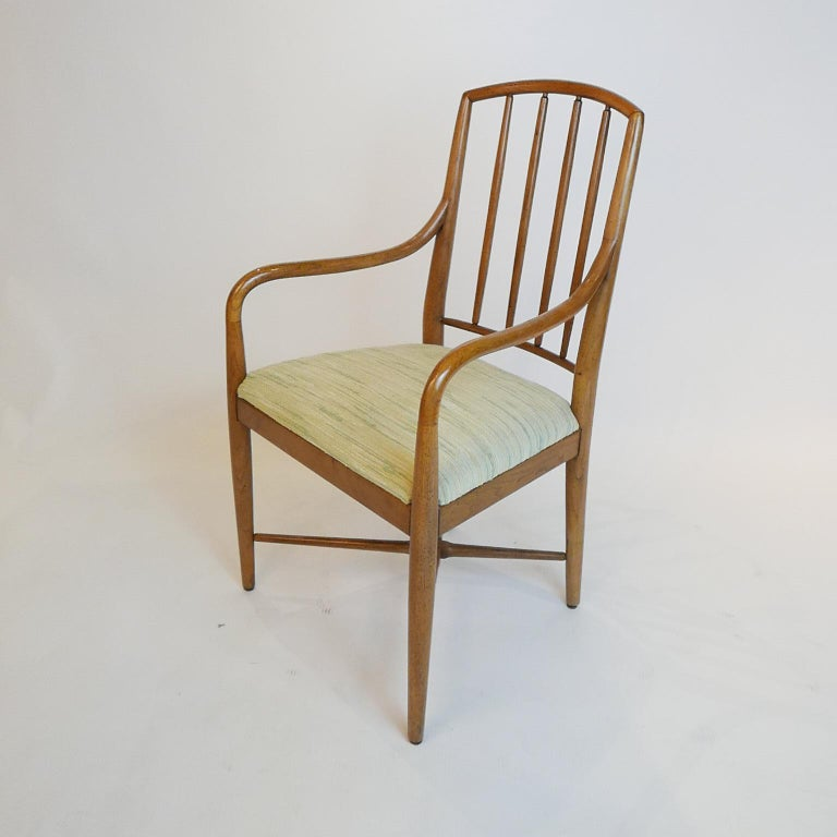 Pair of Sleek Curved Mid-Century Modern Edward Wormley for Drexel Armchairs For Sale 2