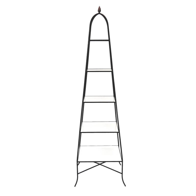Decorative Tommi Parzinger Style Wrought Iron and Milk Glass Etagere Tower Shelf For Sale