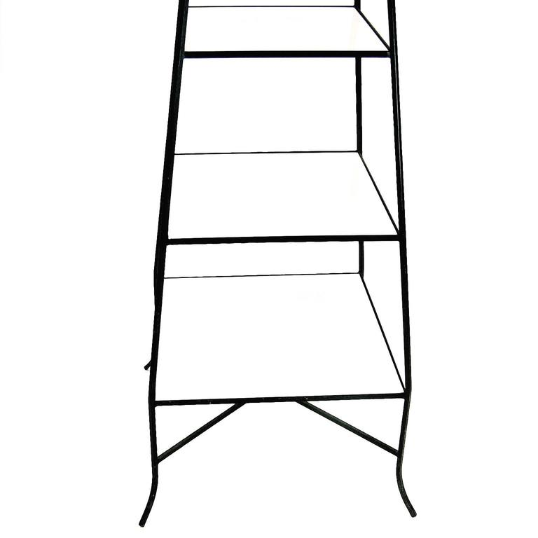 Decorative Tommi Parzinger Style Wrought Iron and Milk Glass Etagere Tower Shelf For Sale 2