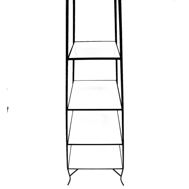 Decorative Tommi Parzinger Style Wrought Iron and Milk Glass Etagere Tower Shelf For Sale 3