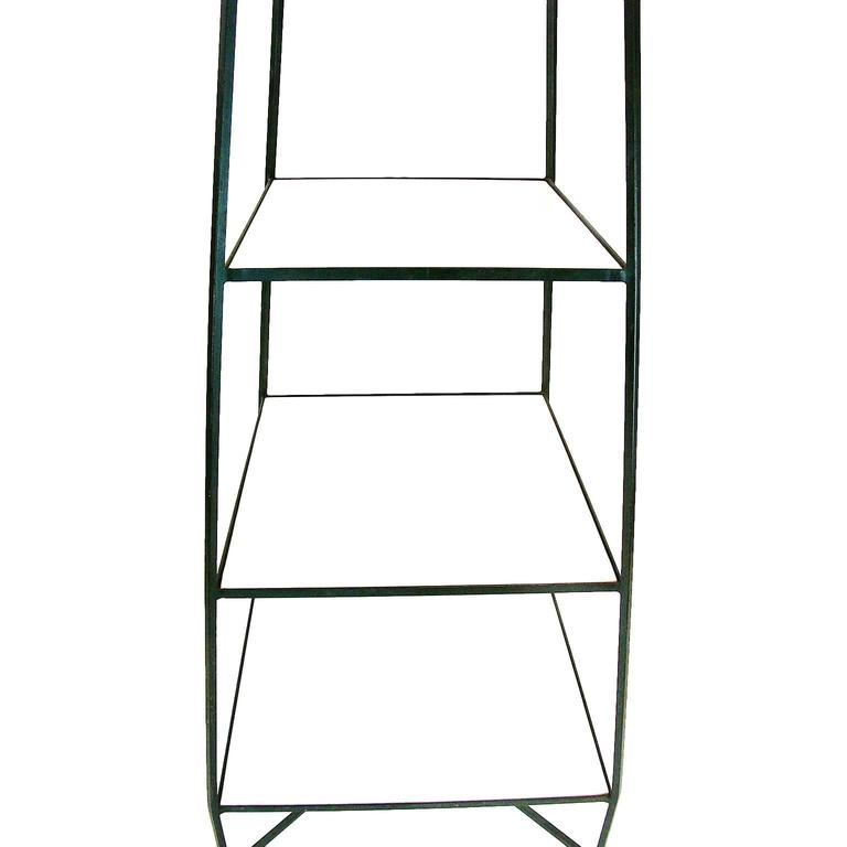 Decorative Tommi Parzinger Style Wrought Iron and Milk Glass Etagere Tower Shelf For Sale 4