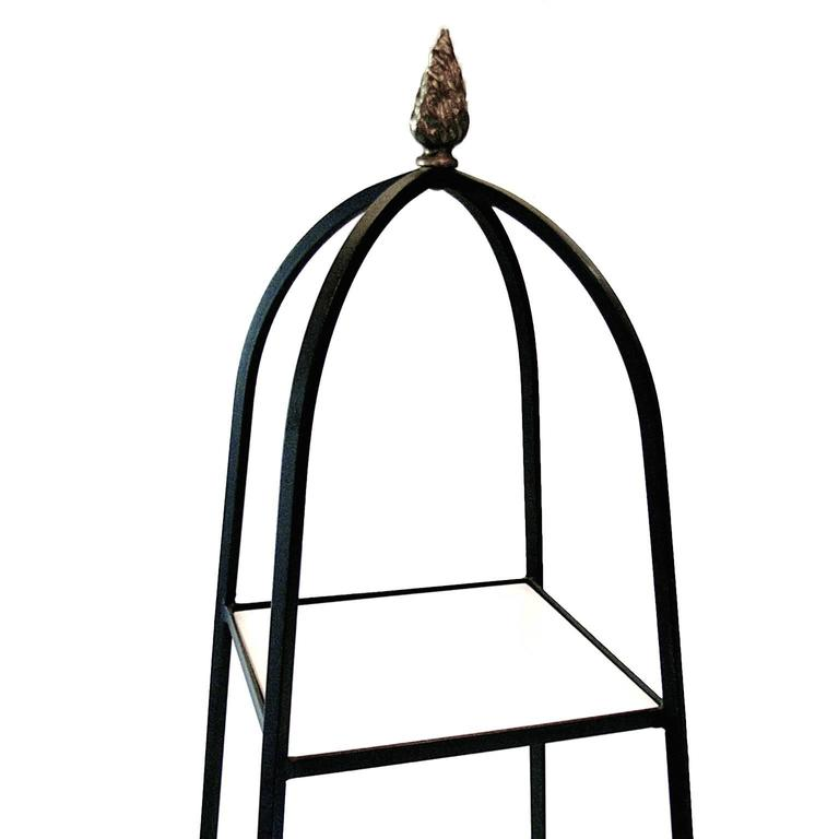 Unknown Decorative Tommi Parzinger Style Wrought Iron and Milk Glass Etagere Tower Shelf For Sale