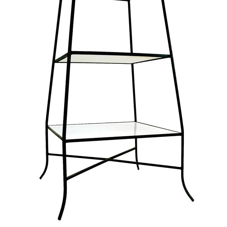 Decorative Tommi Parzinger Style Wrought Iron and Milk Glass Etagere Tower Shelf For Sale 1
