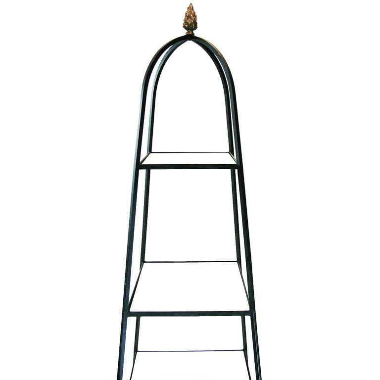 1950s Decorative Tommi Parzinger Style Wrought Iron and Milk Glass Etagere Tower Shelf For Sale