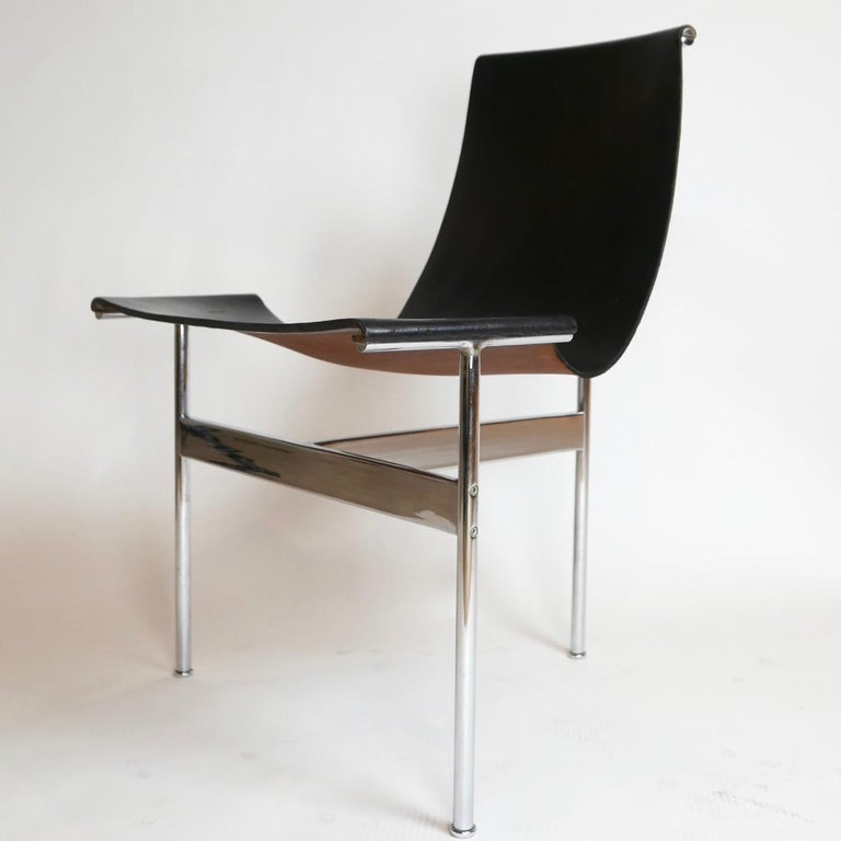 Fantastic set of excellent vintage 1960s T-chairs in black leather with chrome frames. William Katavolos in collaboration with Douglas Kelley & Ross Littell designed the iconic leather sling T chair model 3LC in 1952 as part of Laverne's Sculptural
