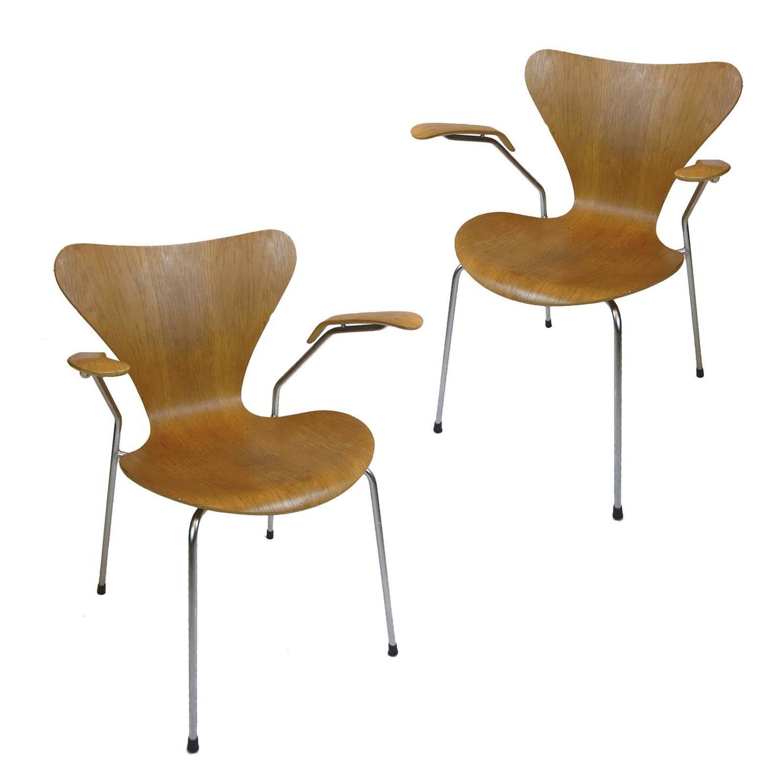 Bent Oak Arne Jacobsen Series Seven Arm Chairs for Fritz Hansen