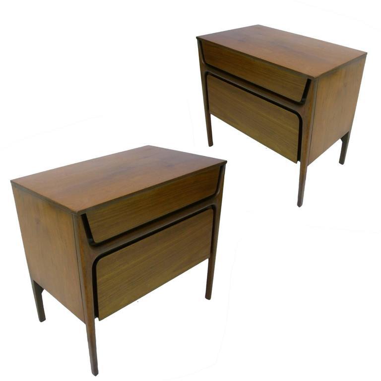 Pair of Stilt Leg Sculptural Nightstands by John Cameron Distinctive Furniture