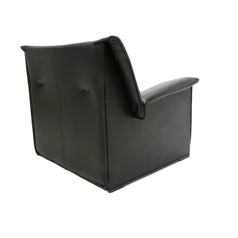Italian Afra and Tobia Scarpa for B & B Italia Black Leather Lounge Chair For Sale