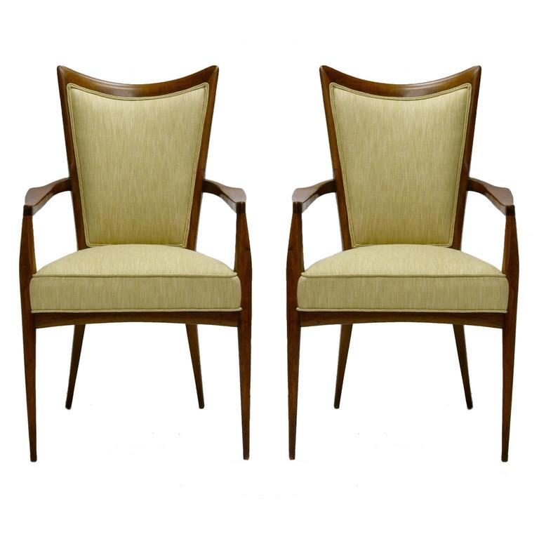 Stunning Pair of Sculptural Mahogany and Silk Chairs by Melchiorre Bega For Sale