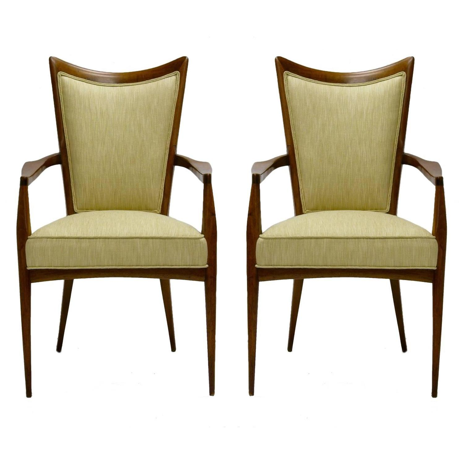 Stunning Pair Of Sculptural Mahogany And Silk Chairs By Melchiorre Bega For Sale At 1stdibs