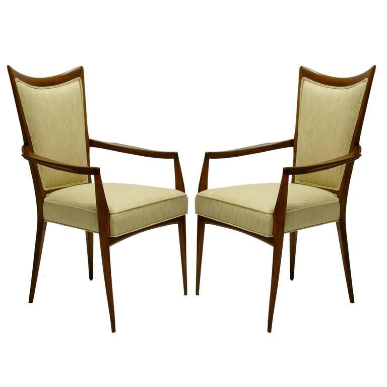 Stunning Pair of Sculptural Mahogany and Silk Chairs by Melchiorre Bega In Excellent Condition For Sale In Hudson, NY
