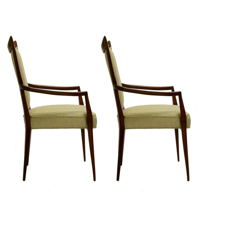 Stunning Pair of Sculptural Mahogany and Silk Chairs by Melchiorre Bega For Sale 1