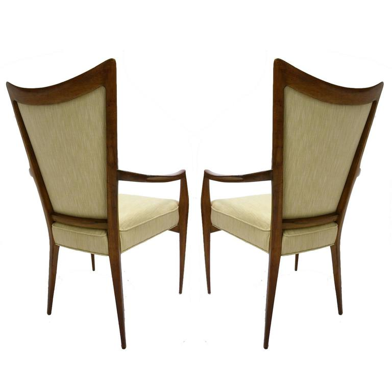Italian Stunning Pair of Sculptural Mahogany and Silk Chairs by Melchiorre Bega For Sale