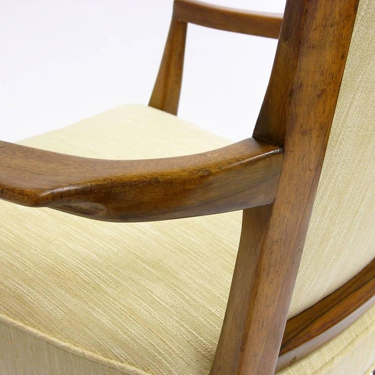 Mid-20th Century Stunning Pair of Sculptural Mahogany and Silk Chairs by Melchiorre Bega For Sale