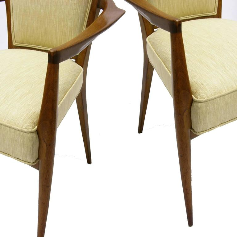 Mid-Century Modern Stunning Pair of Sculptural Mahogany and Silk Chairs by Melchiorre Bega For Sale