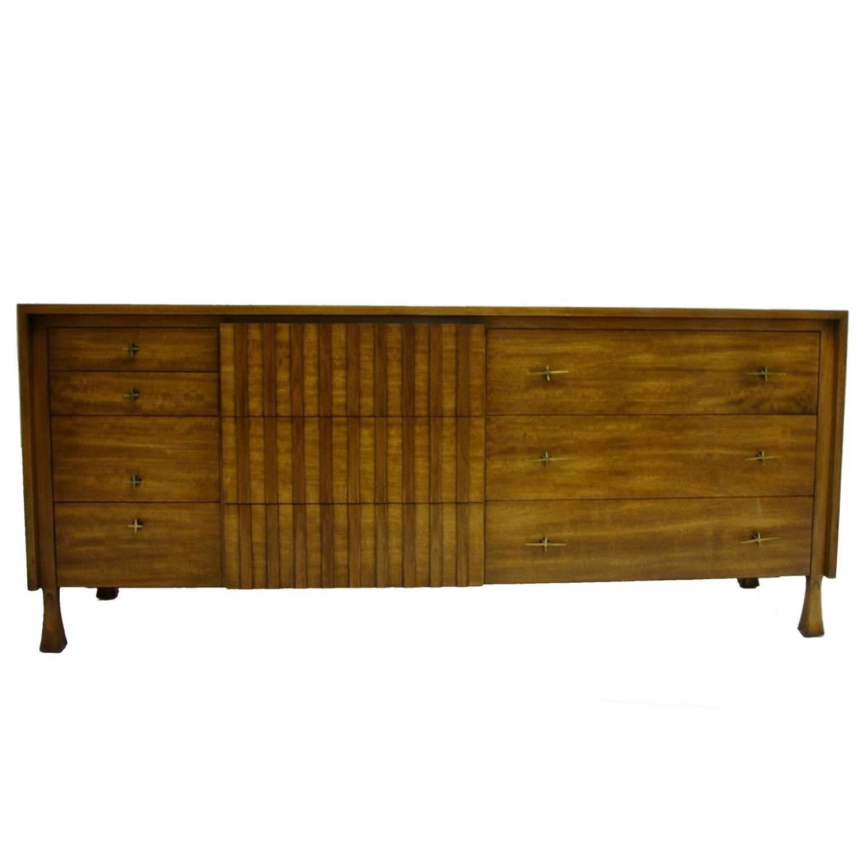 John Widdicomb Furniture For Sale Rare John Widdicomb Ten-Drawer Dresser with Sculptural Legs and Brass ...