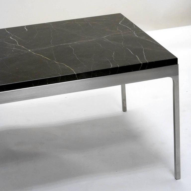 Mid Century Square Steel Coffee Table With Black Marble: Nicos Zographos Steel And Black Marble Nero Marquina