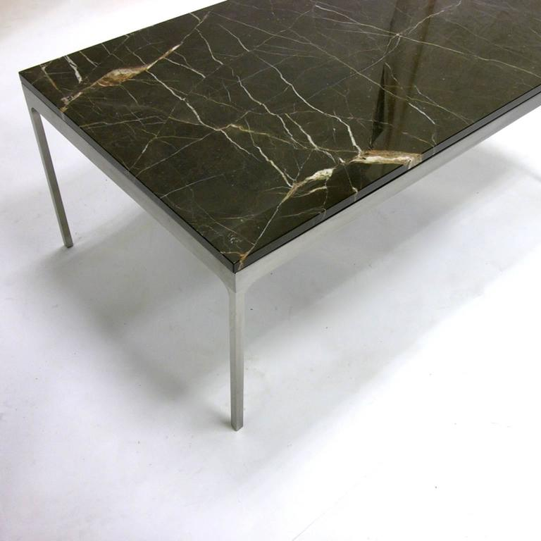 Glass And Metal Square Coffee Table In Black W 80cm: Nicos Zographos Steel And Black Marble Nero Marquina