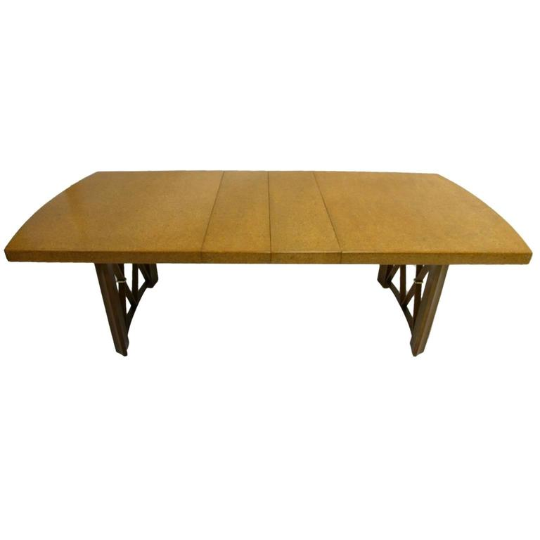 Stunning Paul Frankl Cork Top Dining Table by Johnson Furniture Company For Sale 2