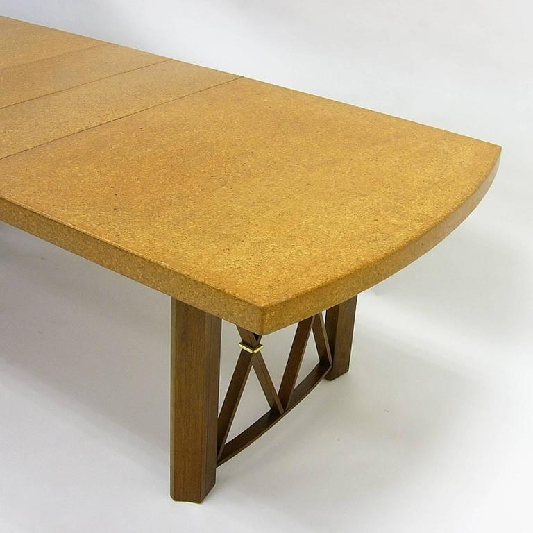Stunning Paul Frankl Cork Top Dining Table by Johnson Furniture Company In Excellent Condition For Sale In Hudson, NY