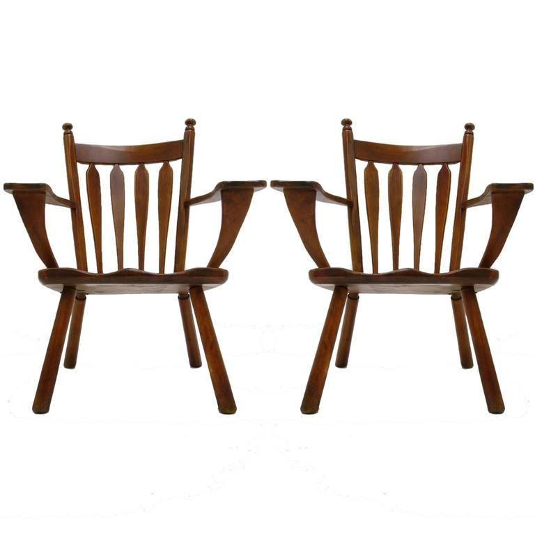 Pair of American Modern Hard Maple Lounge Chairs by Cushman by Herman DeVries 3
