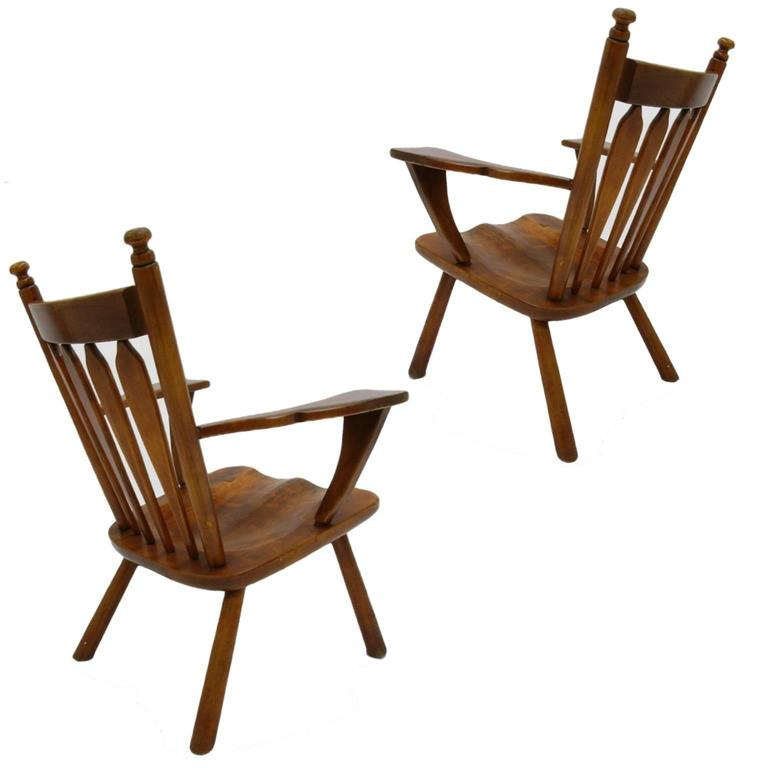 Pair of American Modern Hard Maple Lounge Chairs by Cushman by Herman DeVries 7