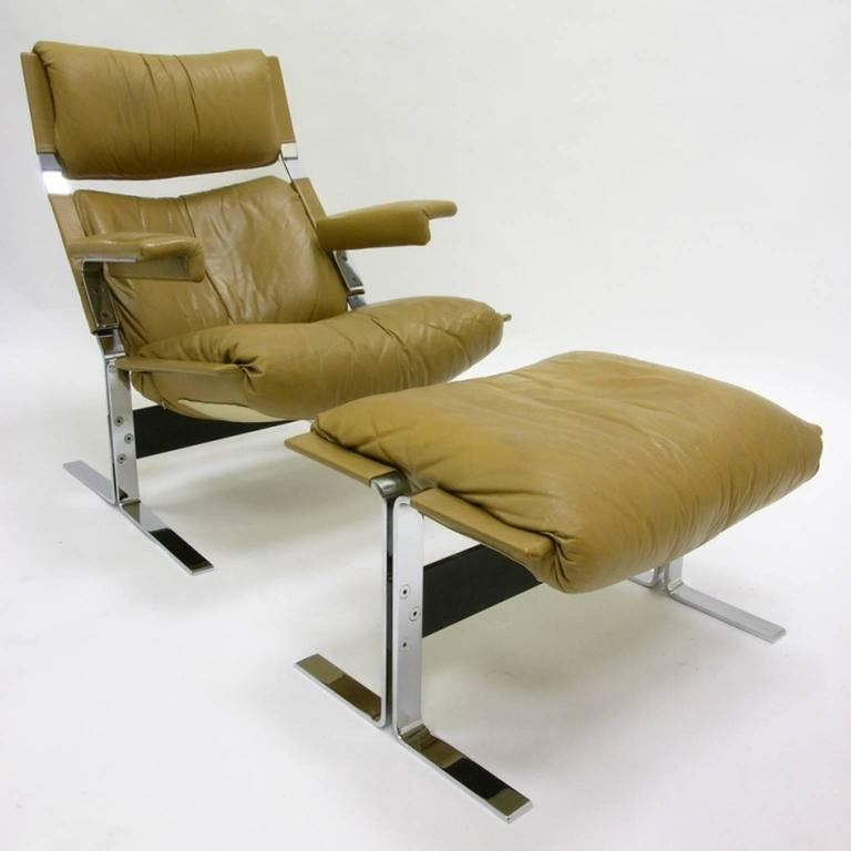 Comfortable Steel And Leather Lounge Chair And Ottoman By R. Hersberger For  Sale 4