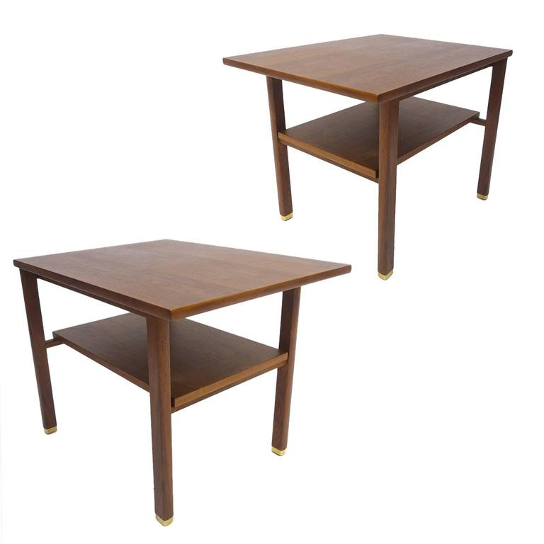 Pair of ed wormley dunbar streamlined walnut end tables w for Functional side table