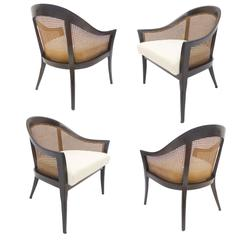 Four Harvey Probber Cane and Mahogany Occasional Armchairs
