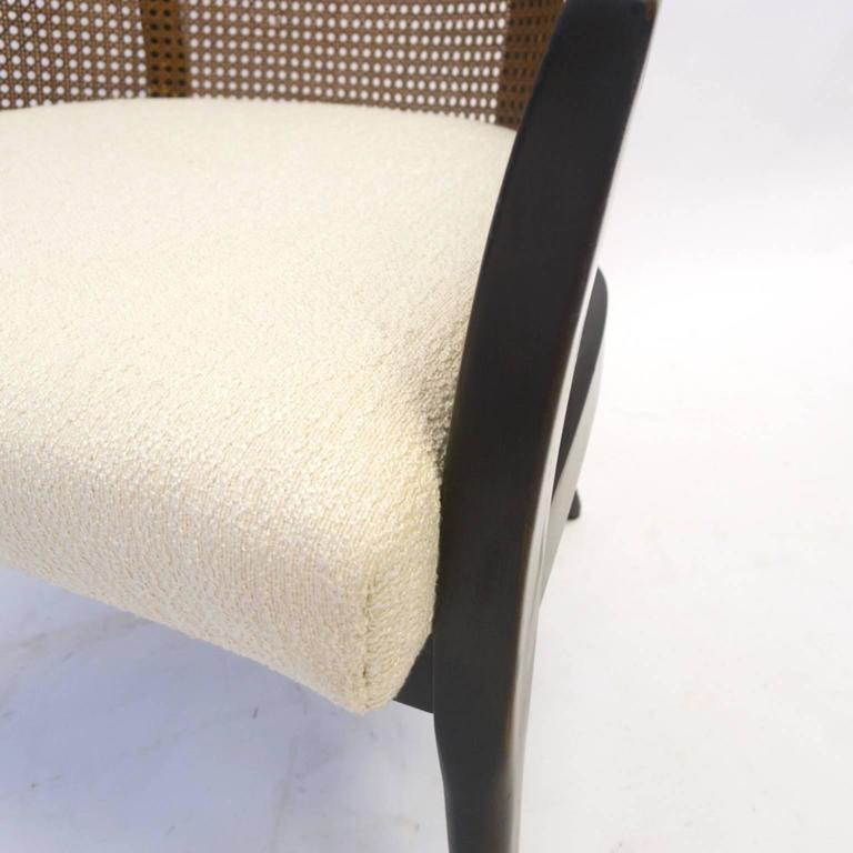 Pair of Harvey Probber Cane and Mahogany Occasional Armchairs w White Upholstery 5