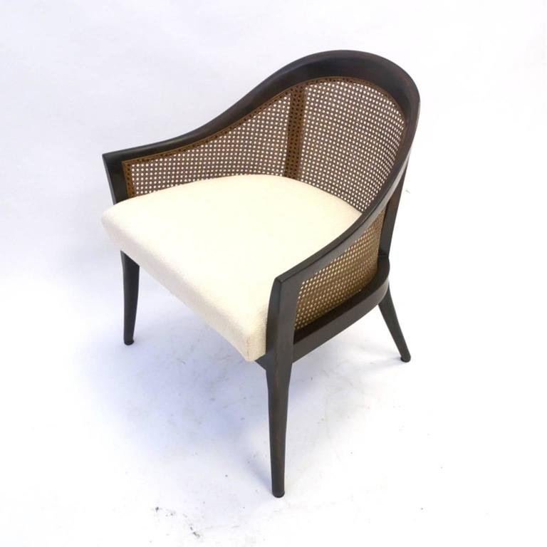 Pair of Harvey Probber Cane and Mahogany Occasional Armchairs w White Upholstery 4