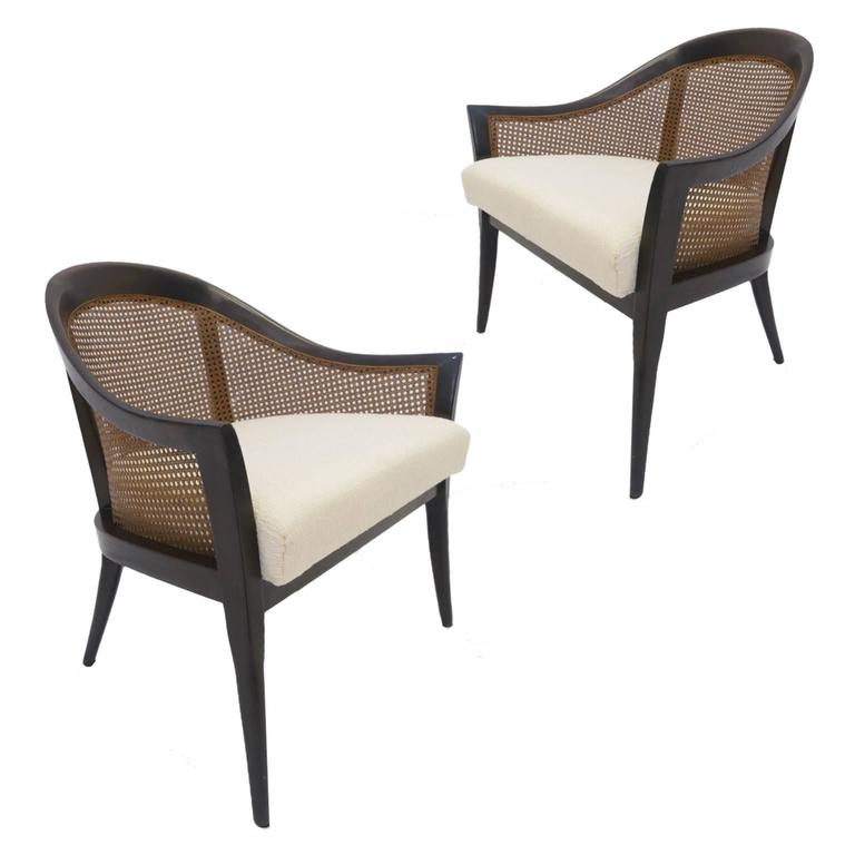 Pair Of Harvey Probber Cane And Mahogany Occasional