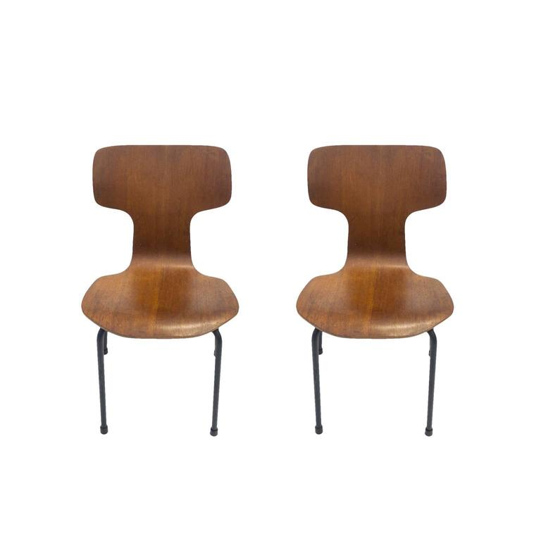 Scandinavian Modern Pair of Rare Arne Jacobsen for Fritz Hansen Childrenu0027s Bent Plywood Chairs For Sale  sc 1 st  1stDibs : bent ply chair - Cheerinfomania.Com