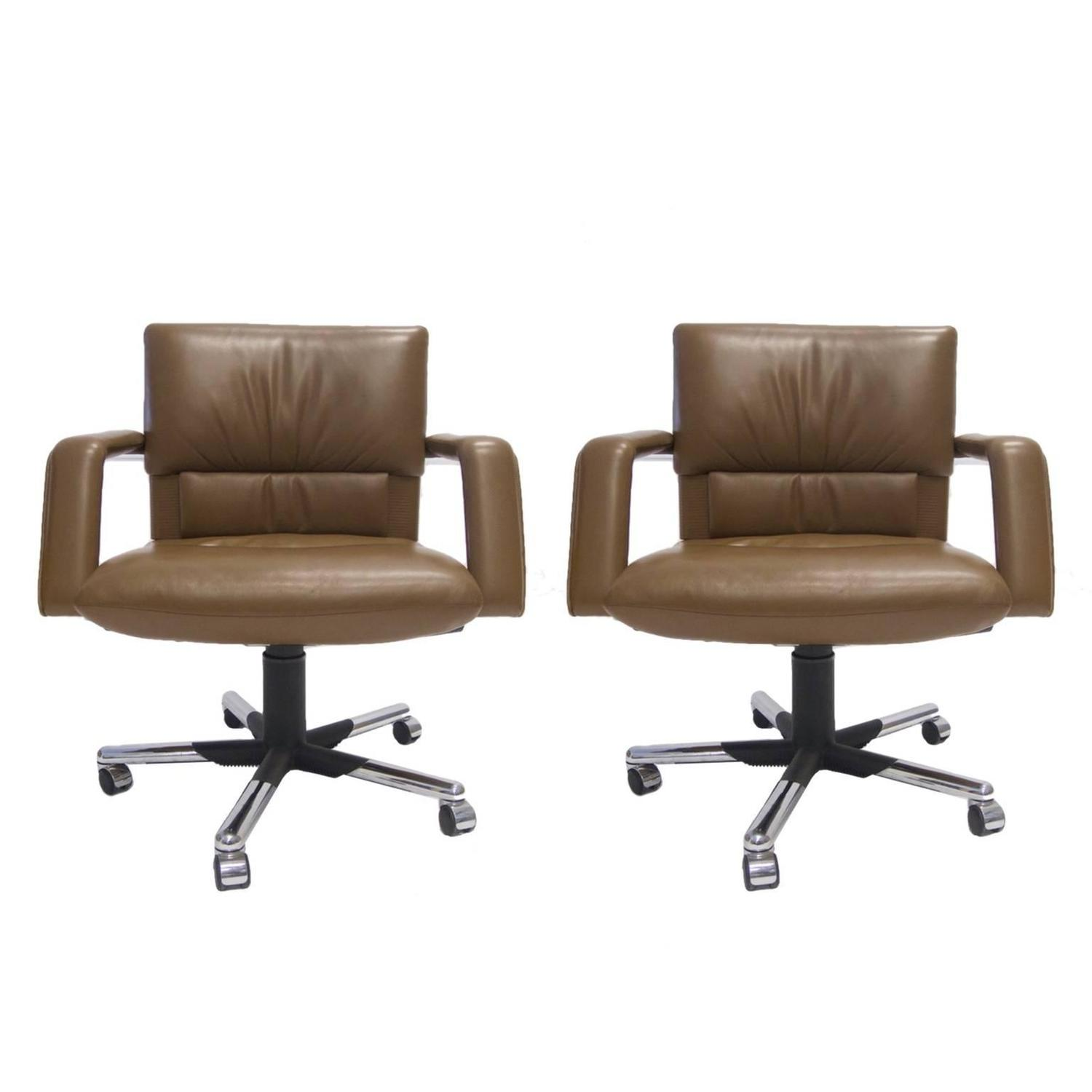 Mario Bellini for Vitra Leather Swivel and Tilt Executive Desk or