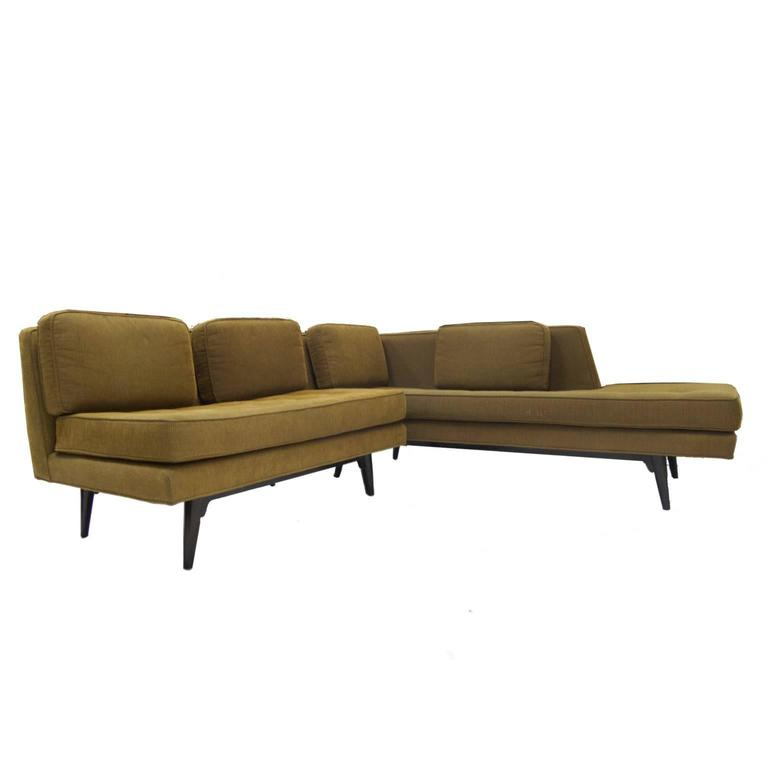 A very rare sleek Dunbar two-piece sectional with very desirable #5525 chaise.